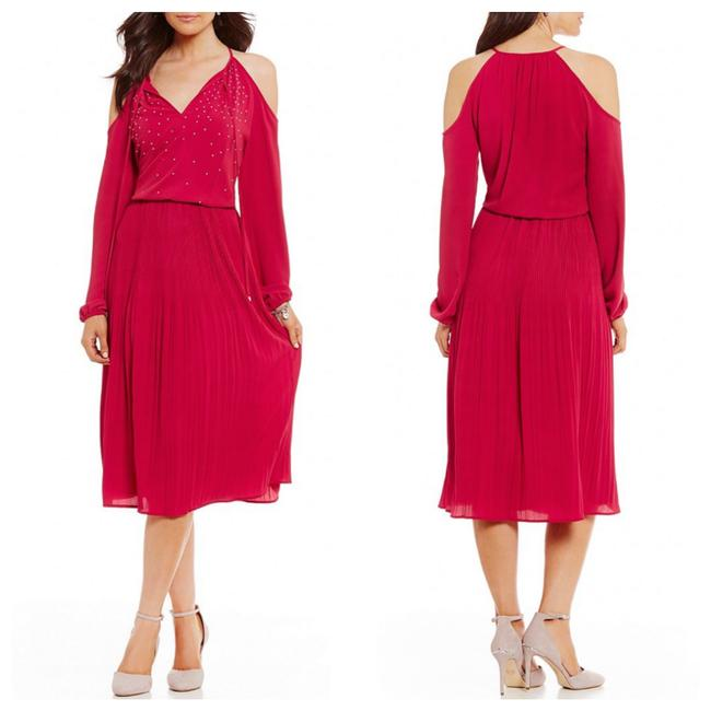 Item - Red Studded Embellished Raspberry Mid-length Cocktail Dress Size 10 (M)