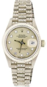 Rolex Datejust Factory Diamond Dial 26mm President Watch 69179