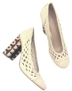 Tory Burch Woven Basketweave Stretchy Hidden Platform Limited Edition Cream Brown Pumps