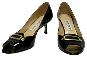 Jimmy Choo Kitten Patent Patent Leather Open Toe Black Pumps