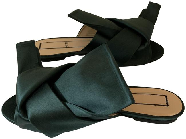 Item - Green No 21 65619 Satin Satin Flat Bow Peeptoe Mules Slides Sandals Size EU 39.5 (Approx. US 9.5) Regular (M, B)