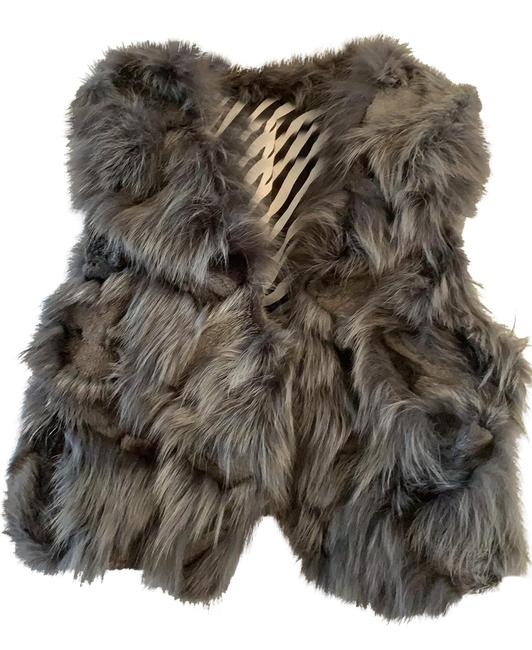 Item - Gray Real Fox Fur with Wool Vest Size 6 (S)