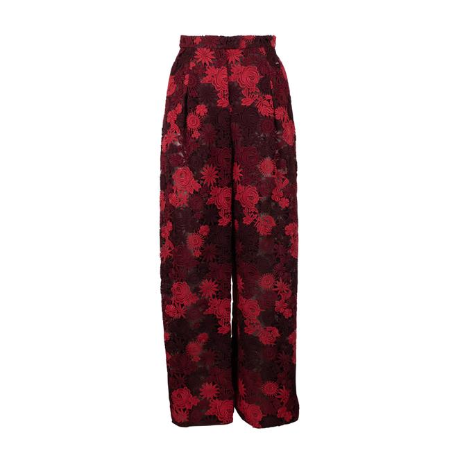 Item - Burgundy Floral Embroidered Pants Size 2 (XS, 26)