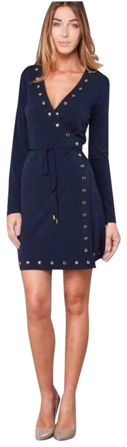 Item - Dark Blue Gold Studs Mid-length Short Casual Dress Size 4 (S)
