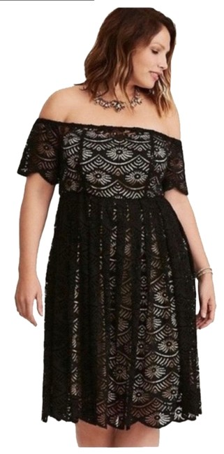 Item - Black White Plus Special Occasion Lace Midi Off The Shoulder Mid-length Short Casual Dress Size 14 (L)