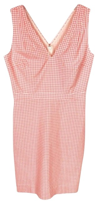 Item - Pink V Neck Seersucker Gingham Sleeveless Spring Picnic Short Casual Dress Size 8 (M)