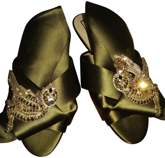 Item - Green Multiple Twist No.21 Satin Front Embellished Slipper Sandals Size EU 37 (Approx. US 7) Regular (M, B)