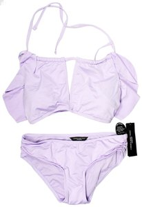 CARMEN MARC VALVO Purlple High-Neck Ruffled Bikini Top And Carmen Marc Valvo Shirred Bik