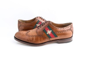 Gucci Brown Leather Lace-up with Bee Web Shoes