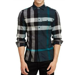 Burberry Green/Black L Men's Green/Black Brit Cotton Nova Check Button Up 3983582 Shirt