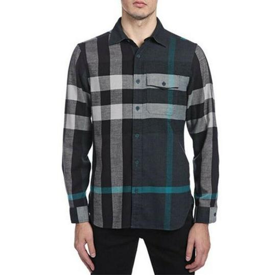 Burberry Green/Black L Men's Green/Black Brit Cotton Nova Check Button Up 3983582 Shirt Image 1
