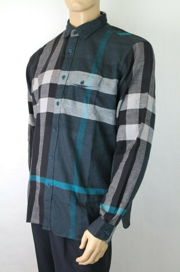 Burberry Green/Black L Men's Green/Black Brit Cotton Nova Check Button Up 3983582 Shirt Image 4