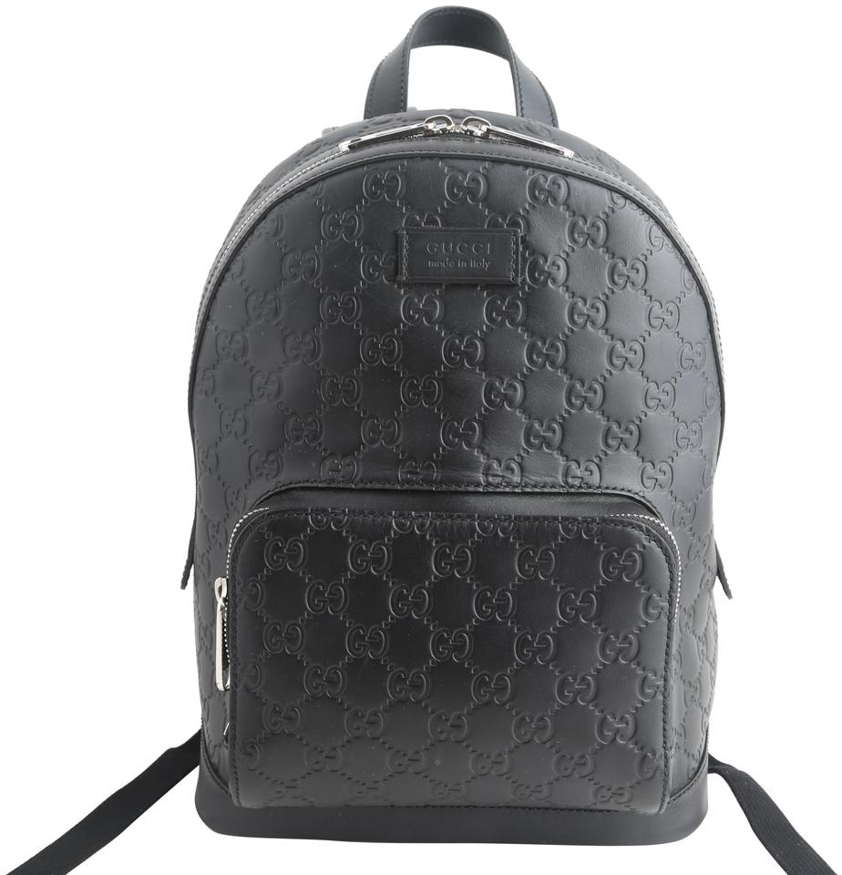 Gucci Black Signature Leather Backpack 13% off retail