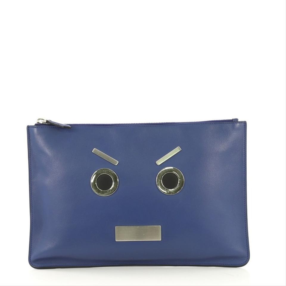 054c06a1c5e Fendi Faces Pouch Medium Blue Leather Shoulder Bag - Tradesy