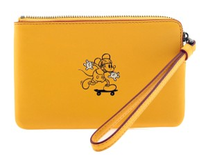Coach COACH x DISNEY Mickey Glove Calf Leather Corner Zip Wristlet in Banana