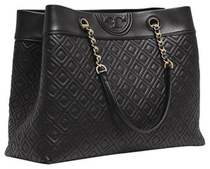 Tory Burch Quilted Fleming Shoulder Tote in black