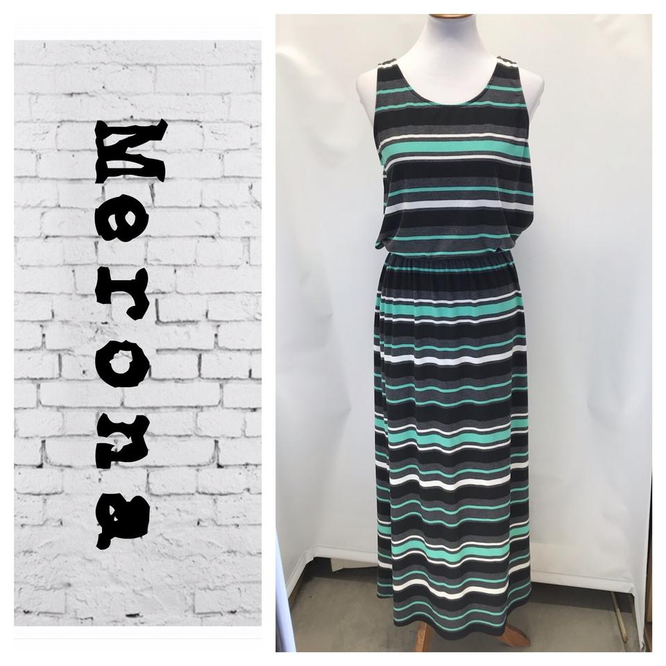 6c603aeda2ec Merona Black/White/Jade Sleeveless Long Casual Maxi Dress Size 8 (M ...