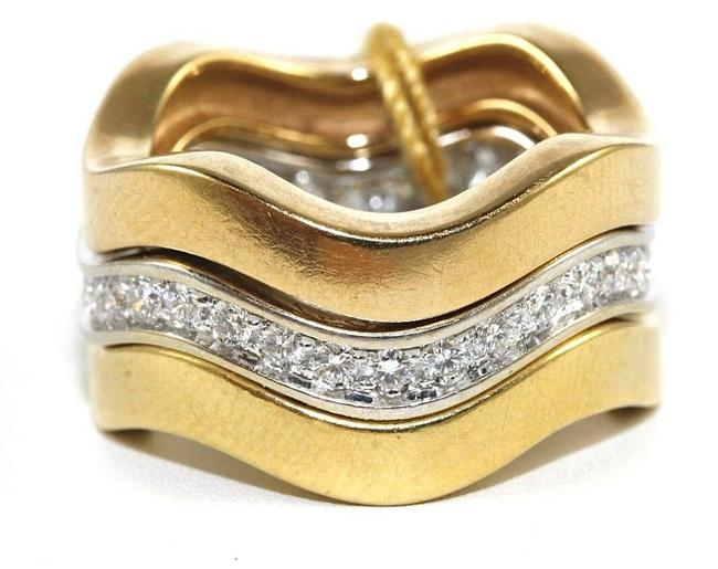 Item - White Curve Diamond Trinity Stackable Band 18k Gold 1.00ct Ring