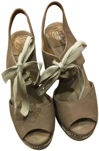 Tory Burch Espadrille Tan & Green Wedges