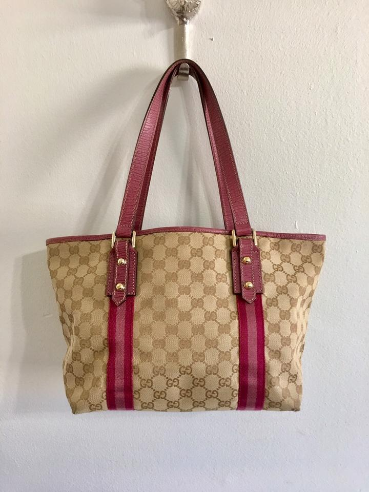 bbbc235d4 Gucci Monogram with Pink Leather Accents Brown Canvas Tote - Tradesy