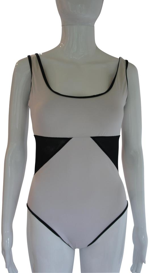 a92b56ca0a Karla Colletto White Black Powernet Mesh-paneled Underwired One-piece  Bathing Suit. Size: 8 ...