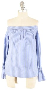 Alice & Trixie Cotton Poplin Longsleeve Pinstripe Top Blue