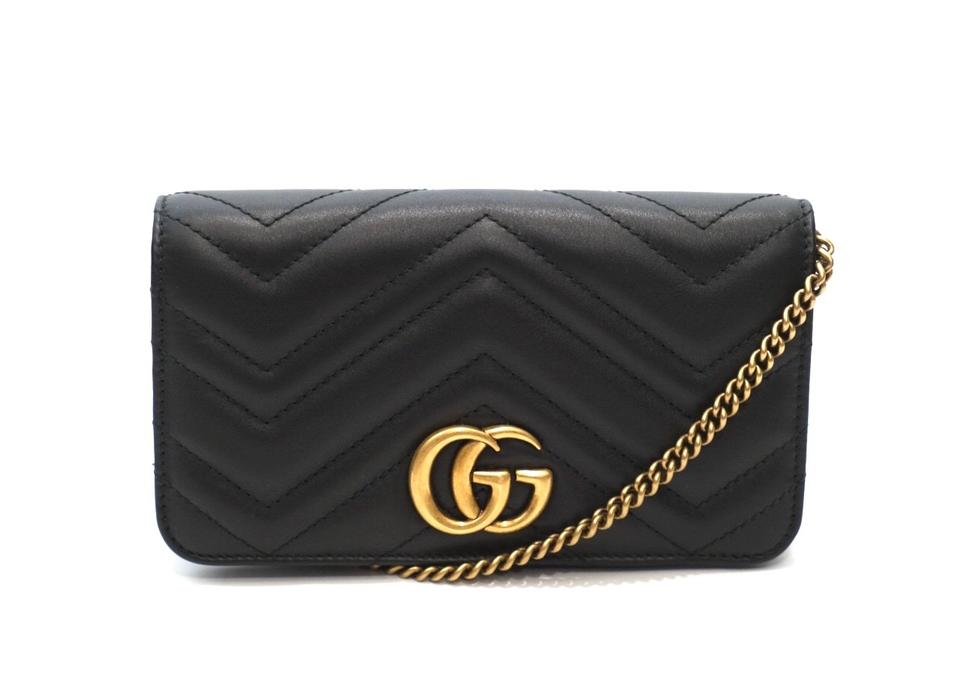5c11f7250 Gucci Marmont Clutch Mini Flap Gg Logo Quilted Black Leather Cross ...