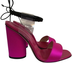 Paul Andrew Satin Ankle Strap Open Toe Sandals Pink Pumps