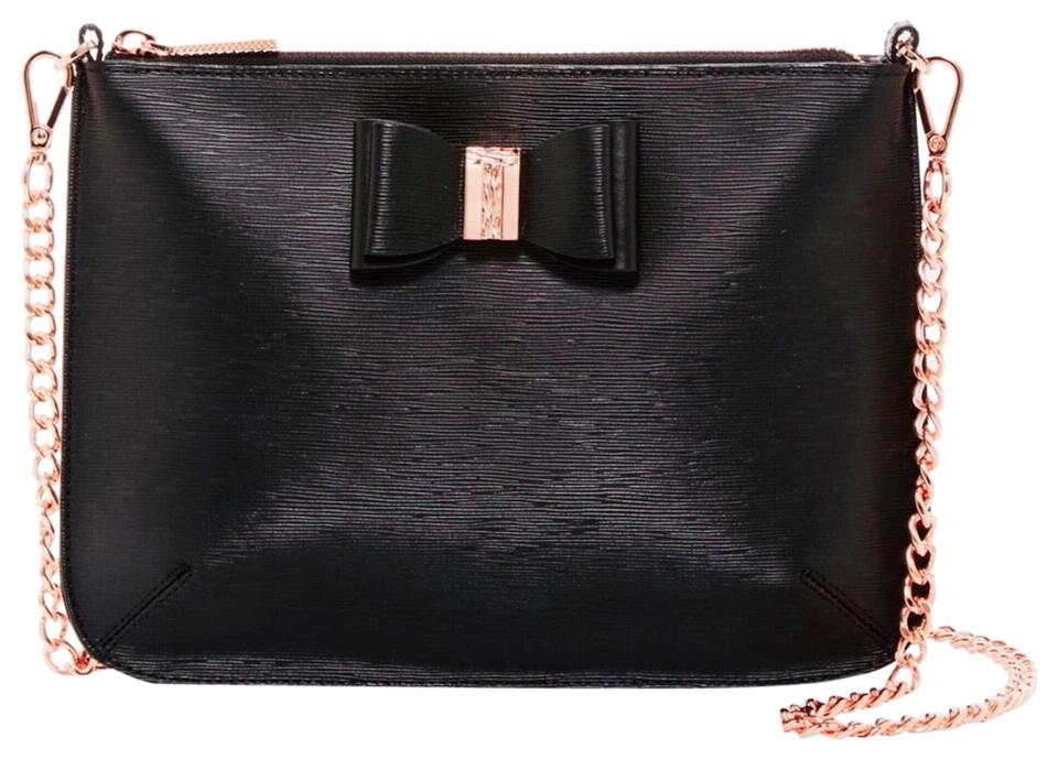 bede06f9f6 Ted Baker Black Rose Gold Leather Cross Body Bag - Tradesy