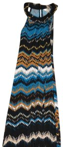 Black, Turquoise Maxi Dress by Mlle Gabrielle