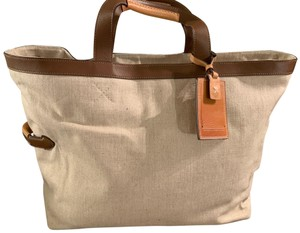 Tumi Leather Canvas Tote Chic Pockets beige and Tan Travel Bag