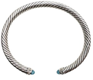 David Yurman Topaz and Diamond 5mm Silver Cable Classic