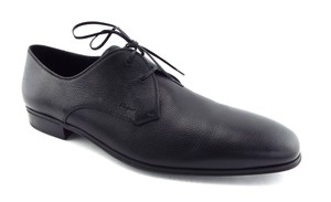 Salvatore Ferragamo Black Leather Logo Detail Men's Oxfords Dress Shoes
