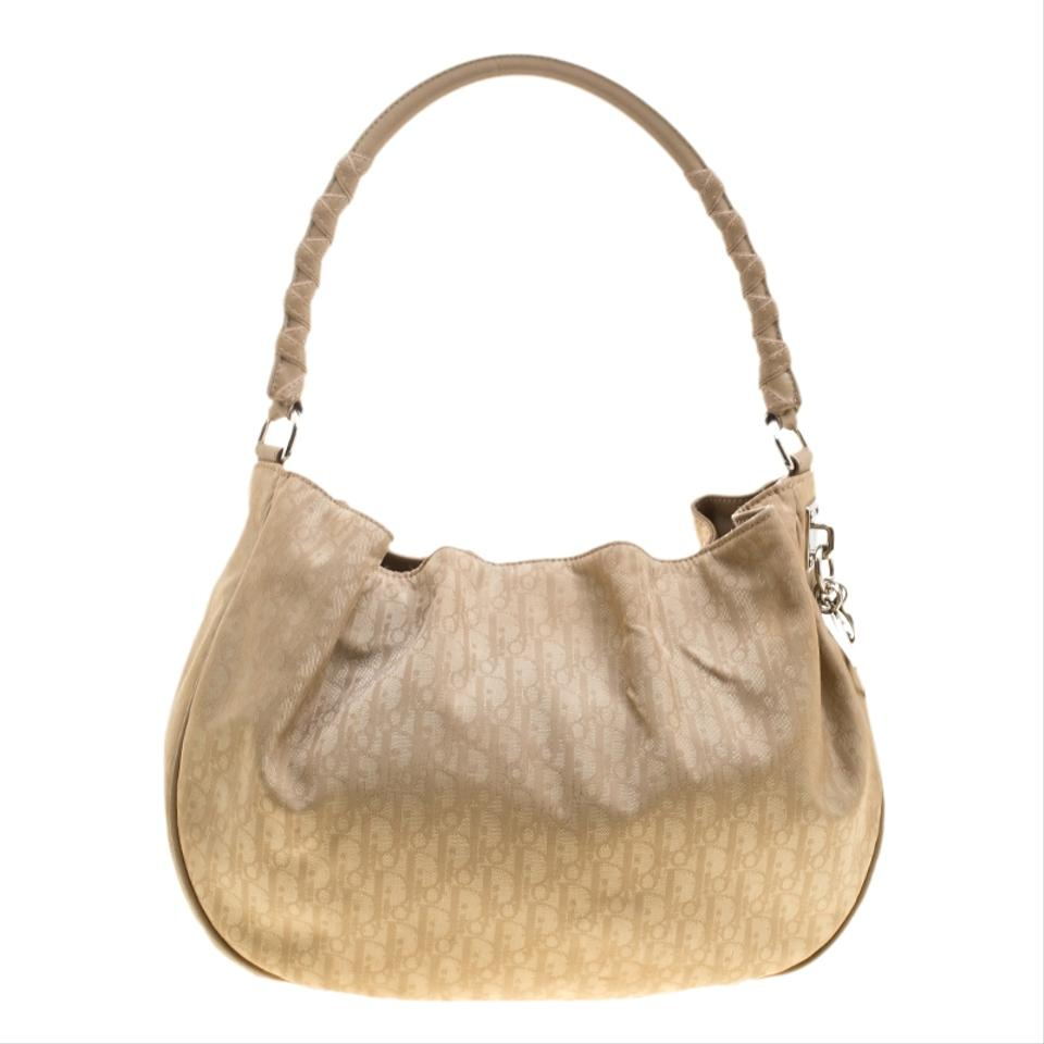 3850d3b4df Dior Diorissimo Canvas and Lovely Beige Leather Hobo Bag - Tradesy