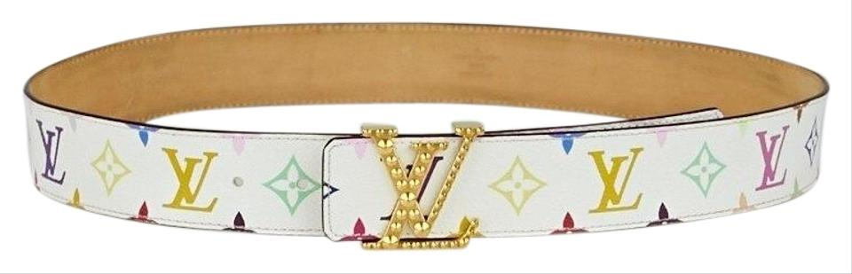 Louis Vuitton White W Multi Colored Monogram W Studded Lv Buckle M Belt 32 Off Retail