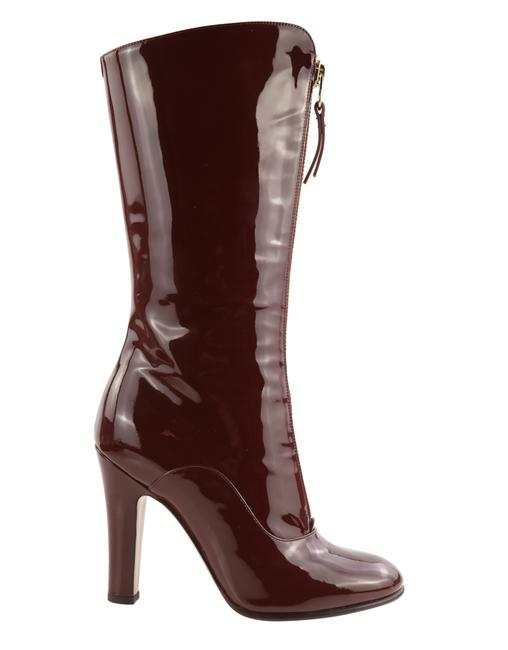Item - Red Crimson Patent Leather Front Zip Mid-calf Boots/Booties Size EU 37.5 (Approx. US 7.5) Regular (M, B)