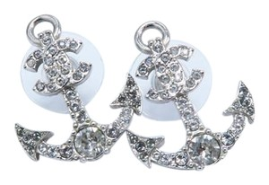 Chanel Silver Anchor Strass Cc Earrings