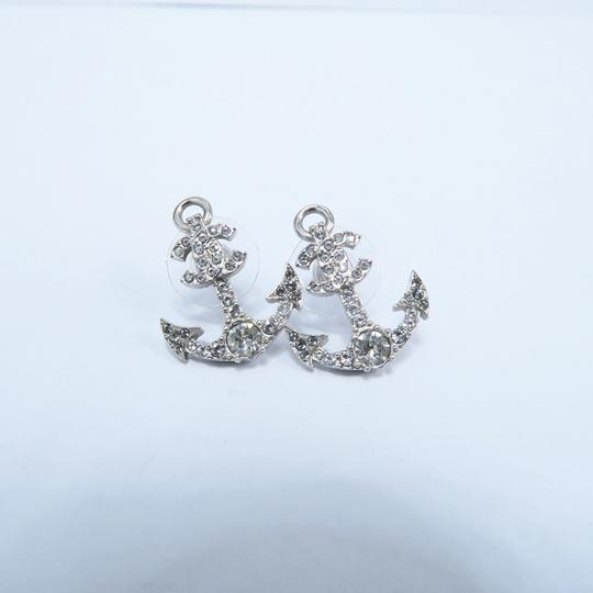 Chanel Silver Anchor Strass Cc Earrings Image 1