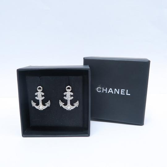 Chanel Silver Anchor Strass Cc Earrings Image 2