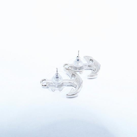 Chanel Silver Anchor Strass Cc Earrings Image 6