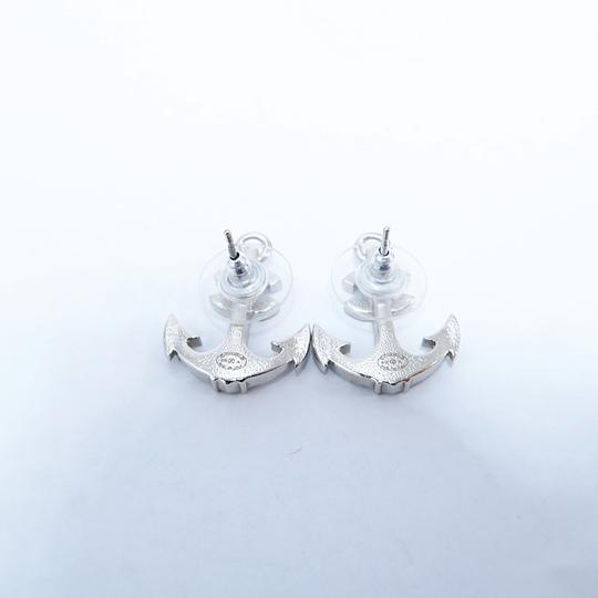 Chanel Silver Anchor Strass Cc Earrings Image 7