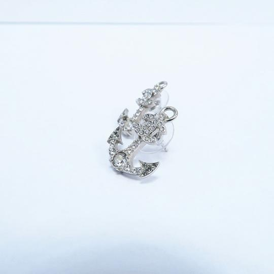 Chanel Silver Anchor Strass Cc Earrings Image 8