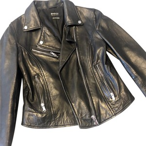 stradivarius black Leather Jacket