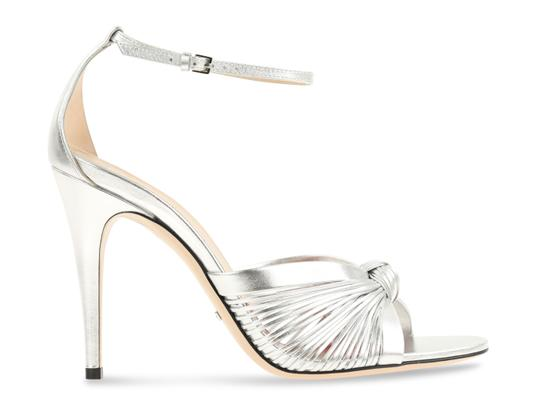 098636085 Gucci Silver Metallic Leather Sandals Size EU 40 (Approx. US 10 ...