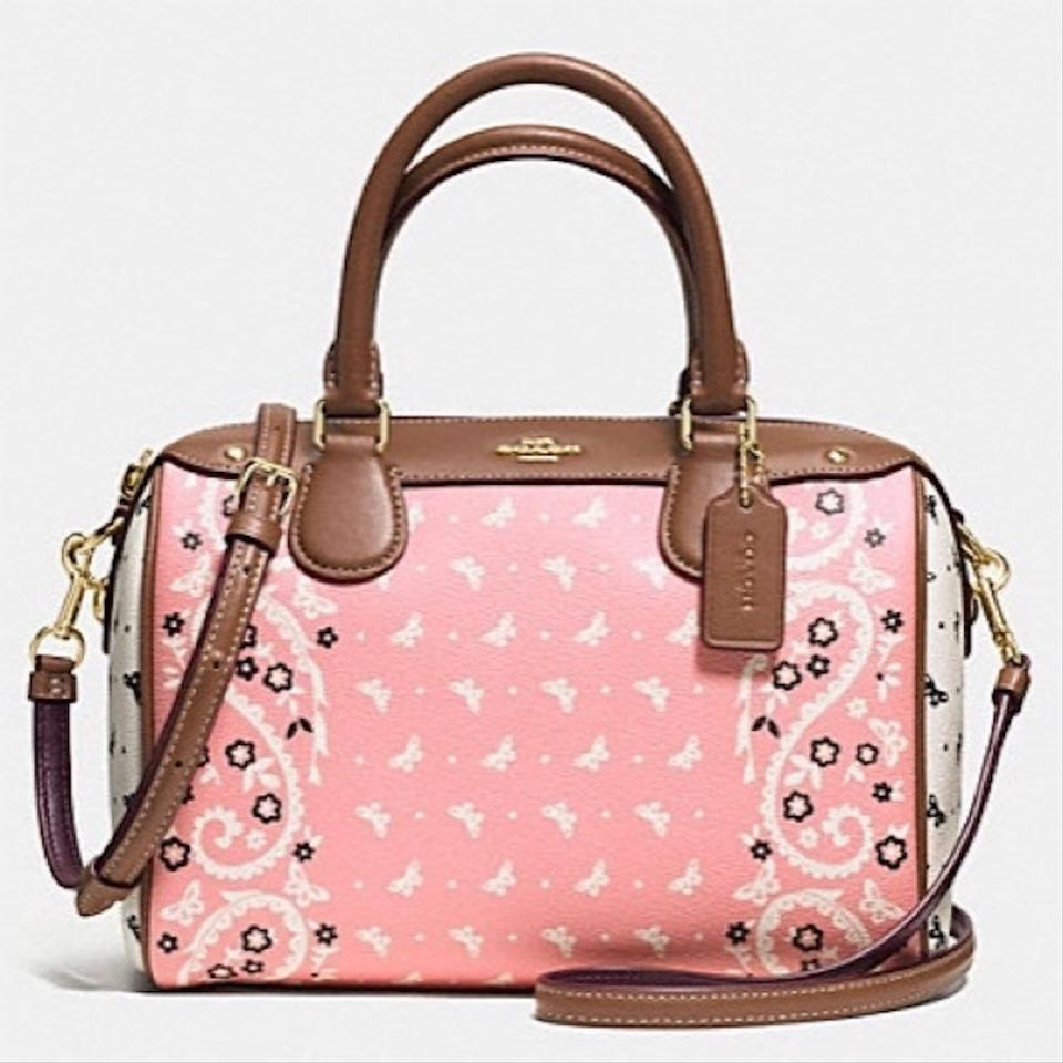 29052d89f3d Coach Bennett Mini Blush / Chalk / Saddle Leather / Coated Canvas Messenger  Bag