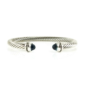 David Yurman David Yurman Sterling Silver 5mm Blue Topaz Diamond Princess Bracelet