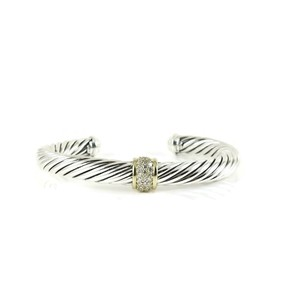 David Yurman David Yurman Sterling Silver 18K Gold .21tcw Diamond Cable Bracelet