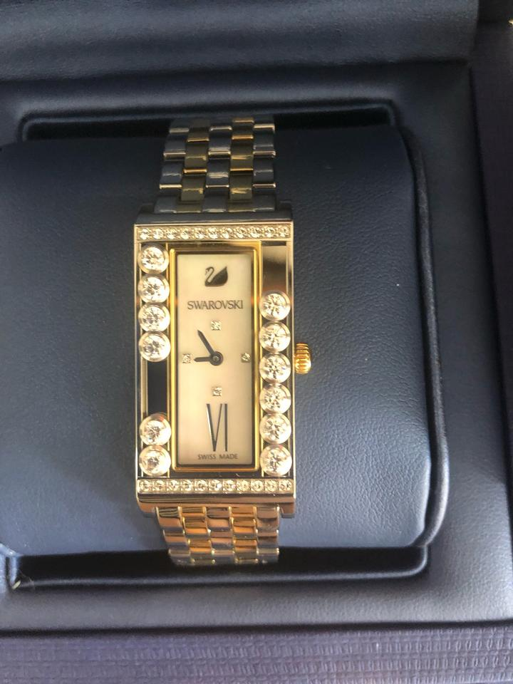 5ae1eafbd9e18 Swarovski Silver-gold Women's Lovely Crystals Square Watch 69% off retail
