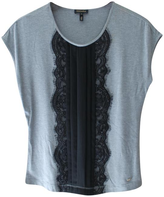 Preload https://img-static.tradesy.com/item/25488696/escada-gray-black-lace-and-beaded-t-tee-shirt-s-tp01-blouse-size-6-s-0-1-650-650.jpg