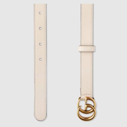 Gucci NEW Gucci Double G Marmont Belt Thin White .8cm 80 28-30 Image 1